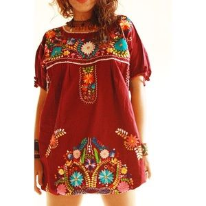 Embroidered bohemian Mexican dress tunic